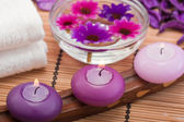 Purple candles and flowers (2) — Stock Photo