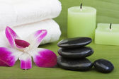 Thermo-therapy stones with orchids (1) — Stock Photo