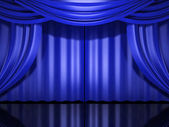 Blue stage drapes — Stock Photo