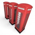Three phone booths — Stock Photo