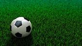 Soccer ball standing on grass field — Stock Photo