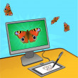 Butterfly computer draving — Stock Vector