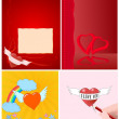 Stock Vector: 4 Valentine card set