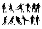 Football players silhouette — Stock Vector