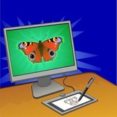 Butterfly computer design — Stock Vector