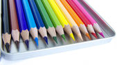 Color pencils in pencilbox — 图库照片
