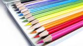 12 Color pencils in pencilbox — Stock Photo