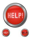 Rode help knop set — Stockvector
