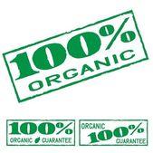 Conjunto orgánico etiqueta impresión verde — Vector de stock