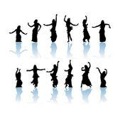 Woman dancers silhouette — Stock Photo