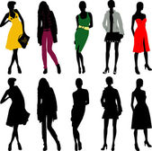 Silhouette fashion girls — Stock Vector