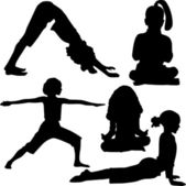 Child`s yoga and gymnastics — Stock Vector