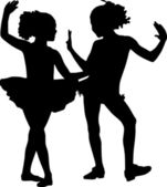 Silhouette happy children — Stock Vector