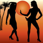 Silhouettes of women dande — Stock Vector