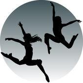 Jump teenagers — Stock Vector