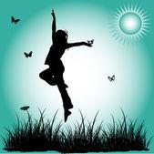 Silhouette jump girl — Stock Vector