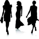 Sylwetki dziewczyny moda — Wektor stockowy