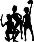 Musicians silhouette children — Stock Vector