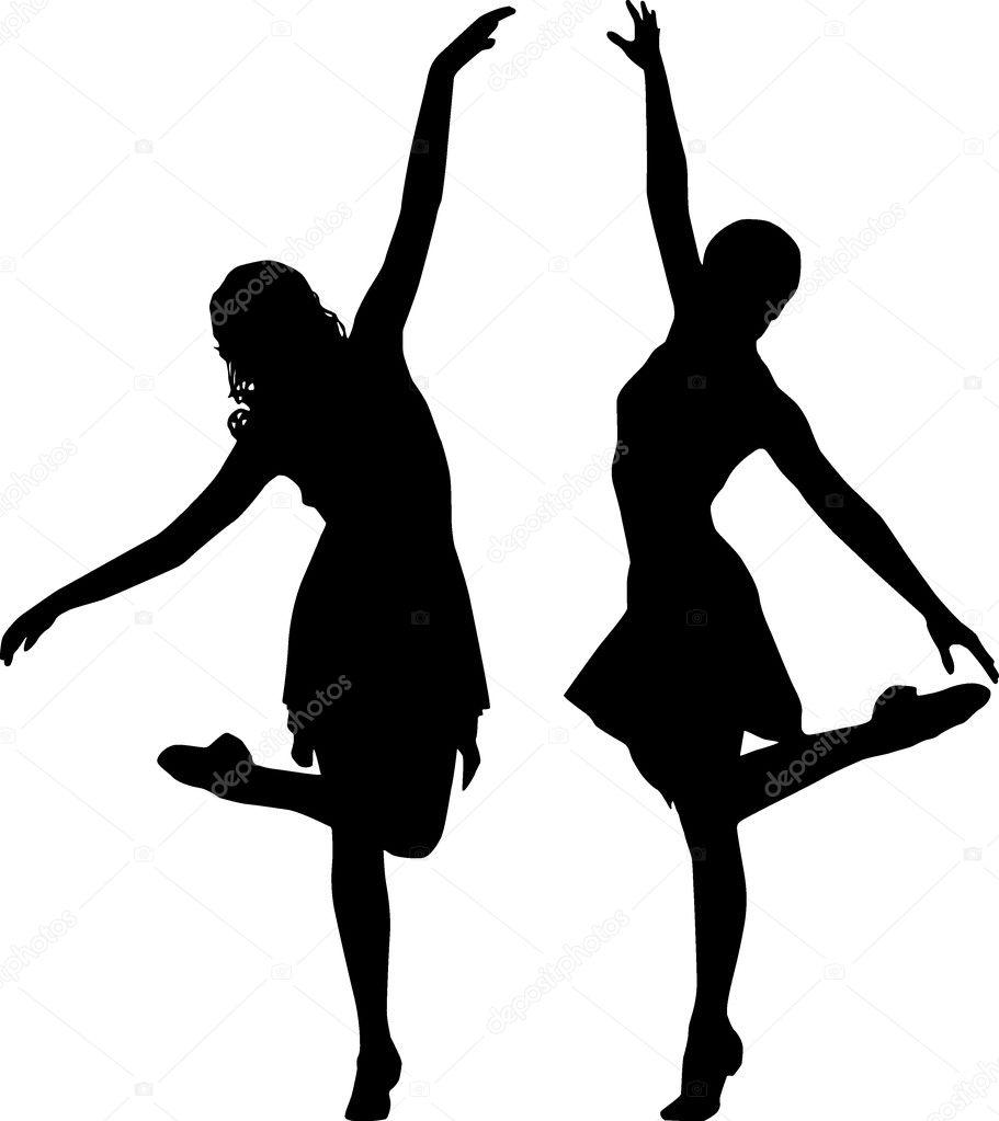 Silhouette women dance...