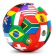 Soccer ball with world flags — Stock Photo