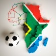 Royalty-Free Stock Photo: South African flag on African map