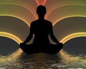 Meditating silhouette — Stock Photo