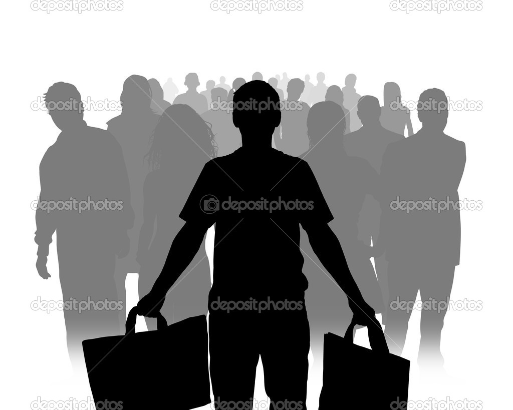 Illustration of a person standing at the front of a crowd, holding bags   Stock Photo #3273099