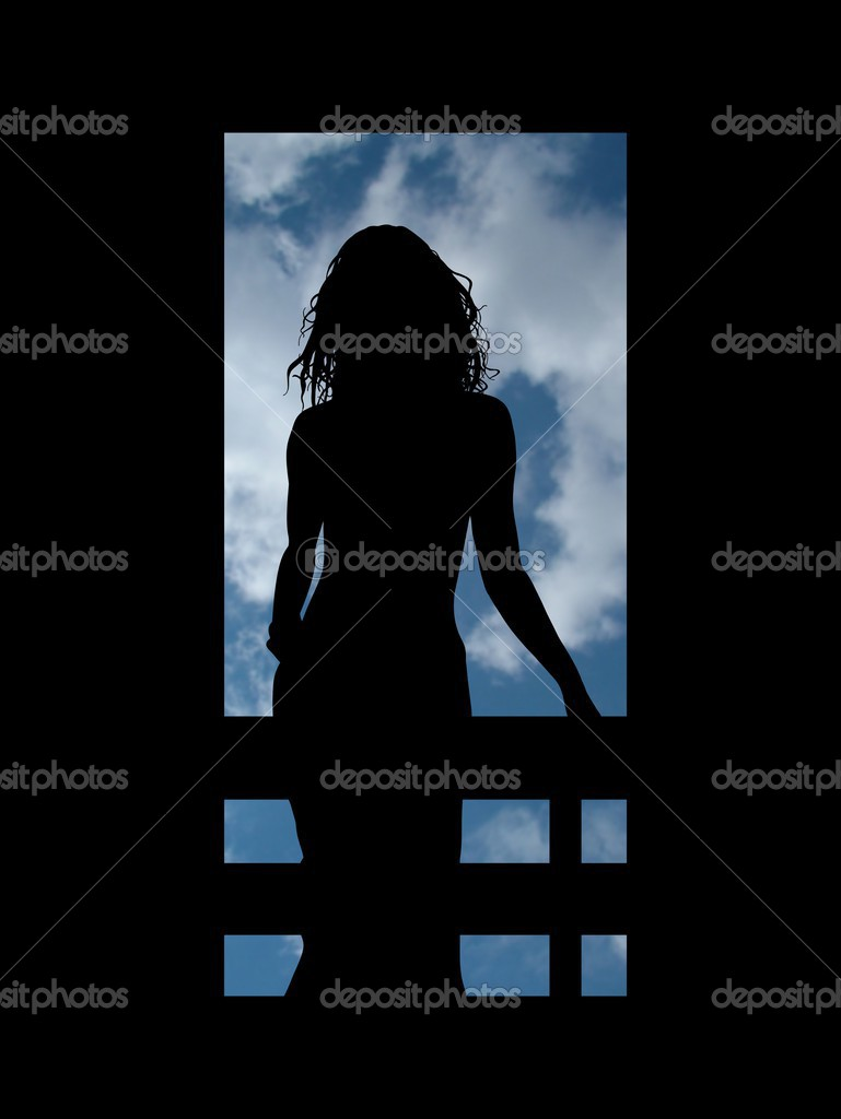 Silhouette of a woman on a balcony looking out at the sky  Stock Photo #3273105