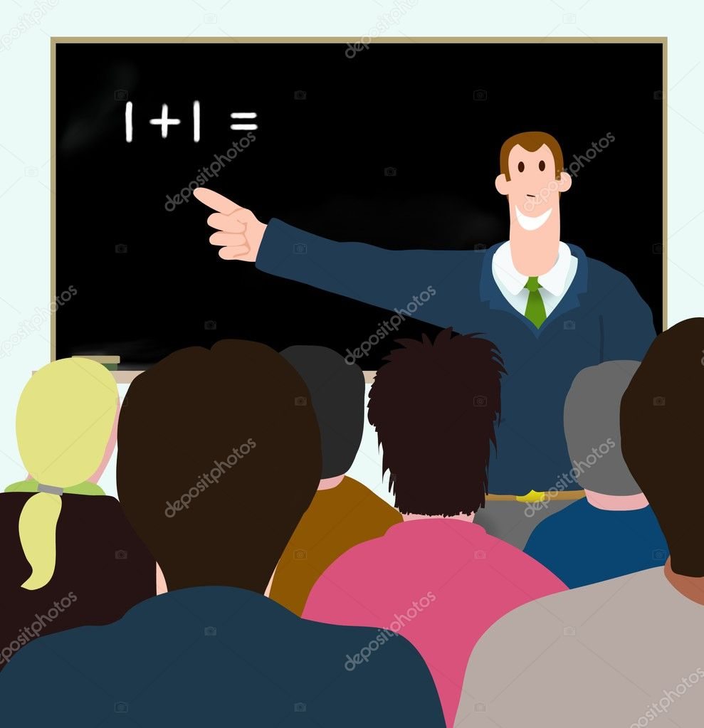 Illustration of man teaching adults — Stock Photo #3273117