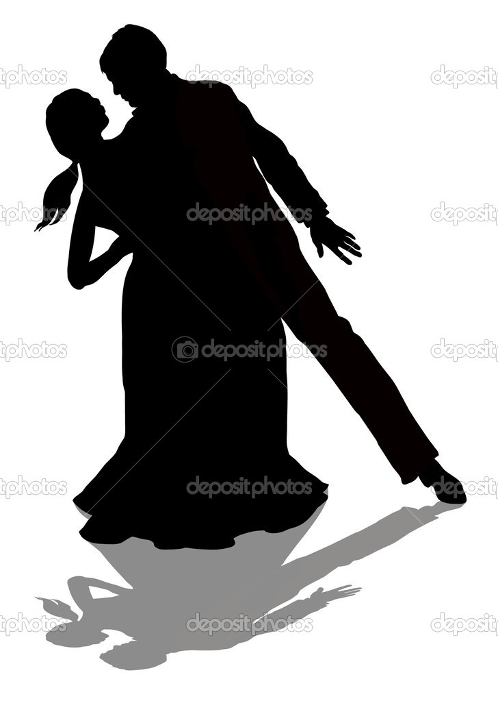 Illustration of a man and woman silhouette dancing  — Stock Photo #3273158