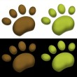 ������, ������: Green and brown paws on black background and white background