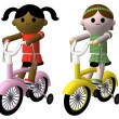 Girls riding bikes — Stock Photo
