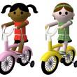 Girls riding bikes — Stock Photo #3439793