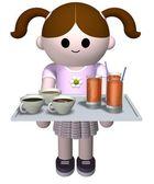 Girl serving drinks — Stock Photo