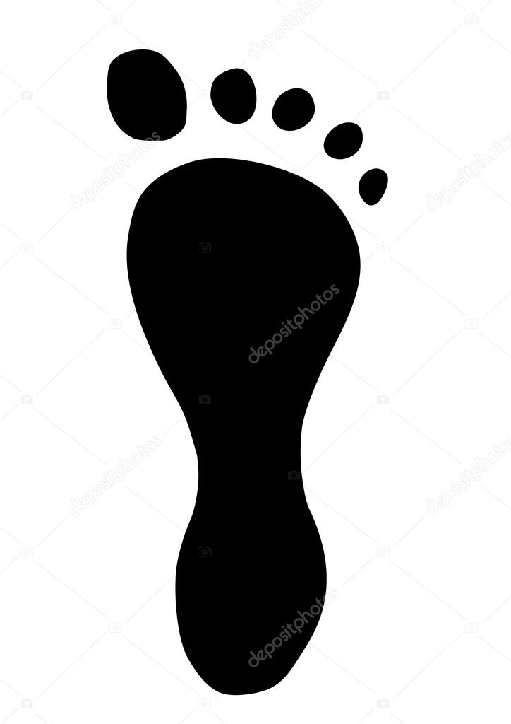 Illustration of a footprint on a white background  — Stock Photo #3459177