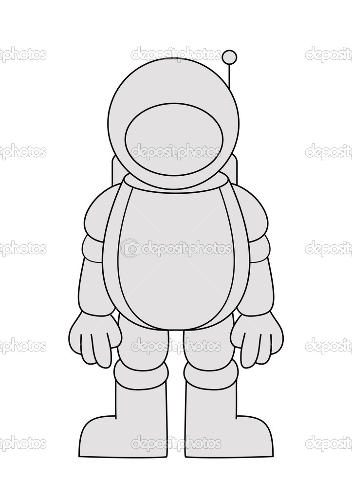 Illustration of an astronaut isolated on a white background  Stock Photo #3475640
