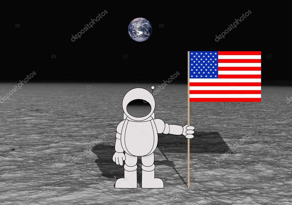 Illustration of an astronaut holding an American flag on the moon — Stock Photo #3487348