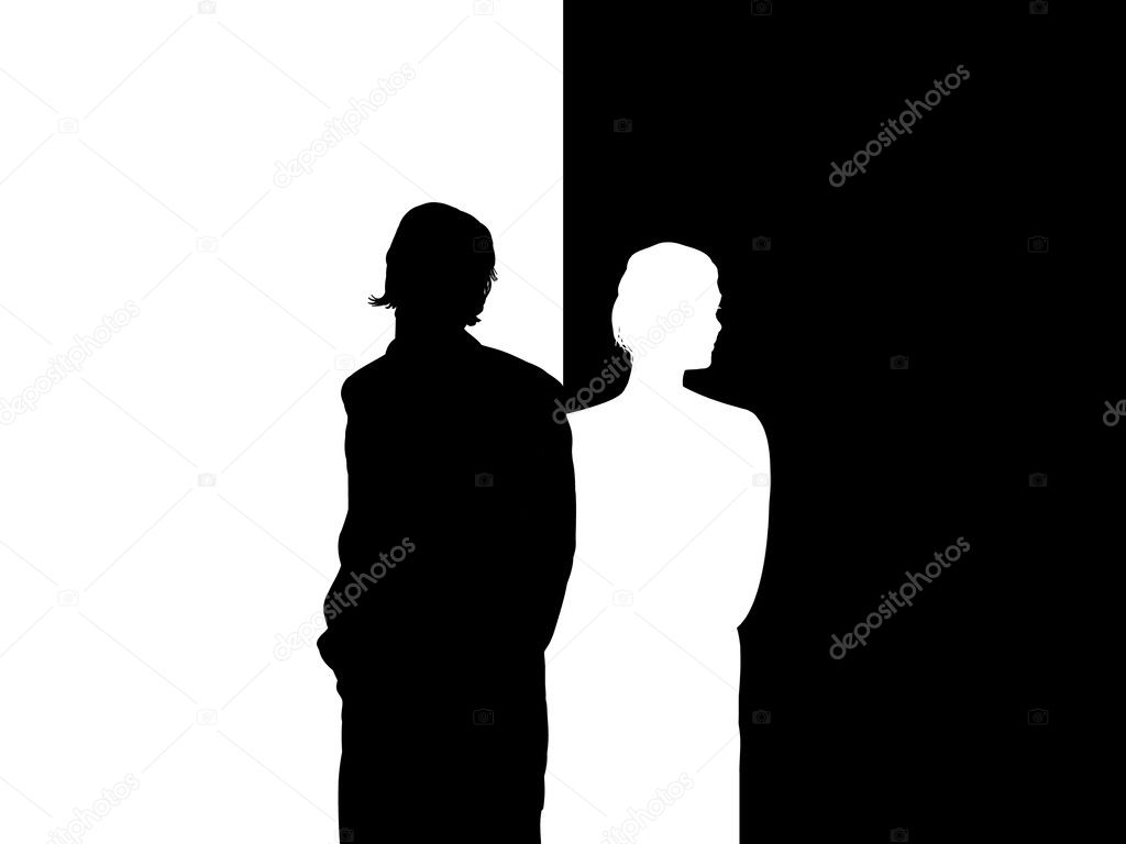 Illustrated silhouette of couple facing away from each other — Stock Photo #3524400