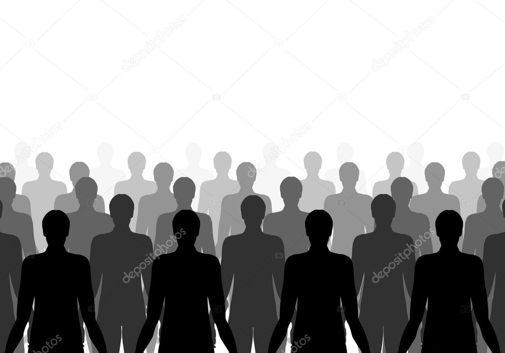 Illustration of lots of the same person in rows  — Stock Photo #3868239