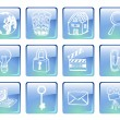 Blue computer icons — Stock Vector