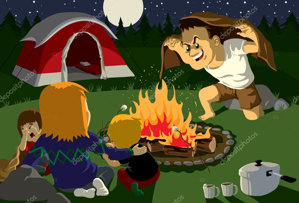 Family campfire story — Stock Vector #3111131