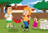 Backyard BBQ — Stock Vector