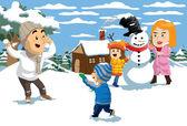 Snow Fight — Stock Vector