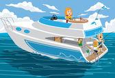 Yacht Vacation — Stock Vector