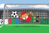 Mascot Soccer Goalkeeper — Stock Vector