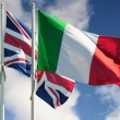 Italy and Great Britain flags - Stock Photo