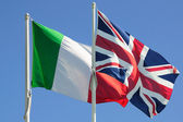 Italy and Great Britain flags — Stock Photo