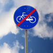 End of bike track road sign — Stock Photo