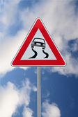Uyarı kaygan yol — Stok fotoğraf