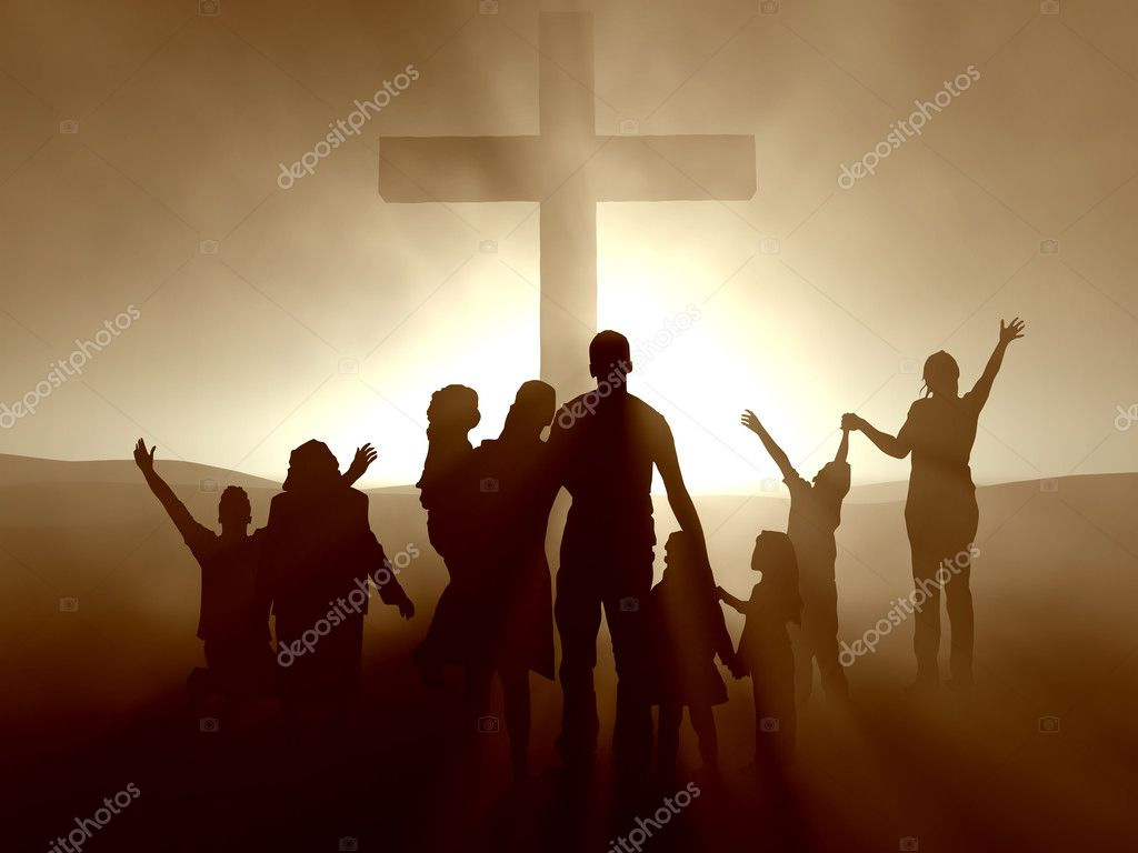 Silhouettes of family and at the cross of Jesus. — Stock Photo #3112754